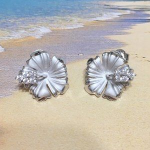 Sterling Silver Hibiscus Stud Earring